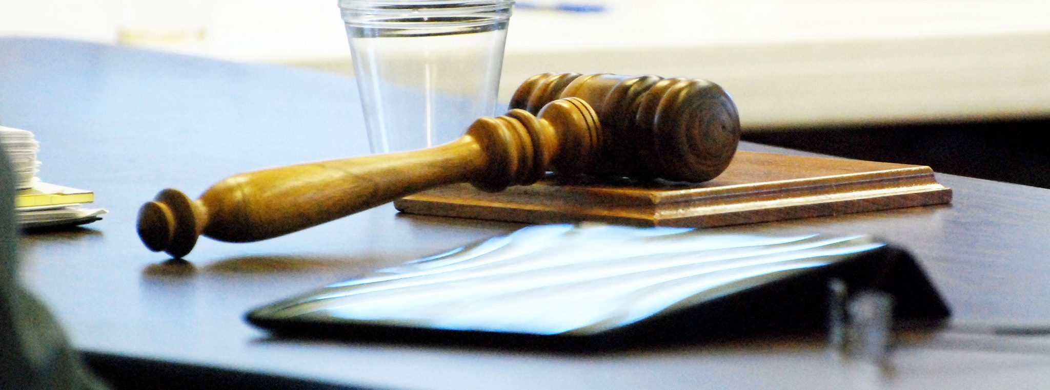 Gavel on table at meeting